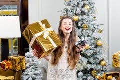 Vrouw het vieren de wintervakantie Royalty-vrije Stock Afbeelding