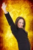 Vrouw het vieren overwinning stock foto
