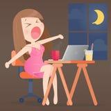 Vrouw het werk overwerk in het huis Stock Foto's