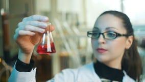 Vrouw het werken bekijkt flessen in een laboratorium stock footage