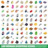 100 vrouw het winkelen geplaatste pictogrammen, isometrische 3d stijl Royalty-vrije Stock Foto's