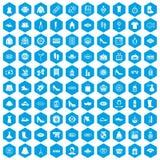 100 vrouw het winkelen pictogrammen geplaatst blauw Stock Foto's