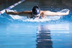 Vrouw het zwemmen vlinderslag Stock Foto's