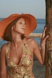 Vrouw in hoed stock afbeeldingen