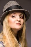 Vrouw in hoed Royalty-vrije Stock Foto
