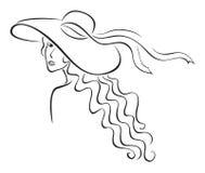 Vrouw in hoed Royalty-vrije Stock Foto's