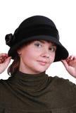 Vrouw in hoed Royalty-vrije Stock Afbeelding