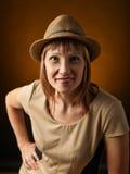 Vrouw in hoed Stock Afbeelding
