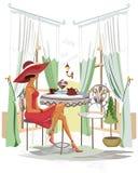 Vrouw in hoed met koffie binnen koffie stock illustratie