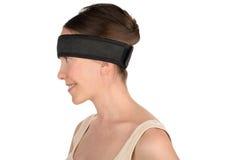 Vrouw in hoofdbandsilhouet stock fotografie