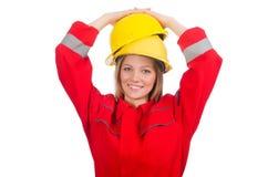 Vrouw in industrieel geïsoleerd concept Stock Foto