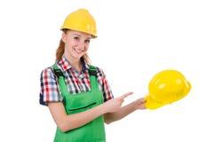 Vrouw in industrieel geïsoleerd concept Royalty-vrije Stock Afbeeldingen