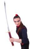 Vrouw in Japanse krijgs Stock Afbeelding