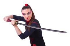 Vrouw in Japanse krijgs Stock Fotografie
