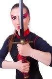 Vrouw in Japanse krijgs Stock Foto