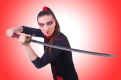 Vrouw in Japanse krijgs Royalty-vrije Stock Foto's