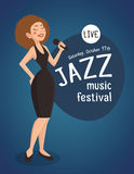 Vrouw Jazz Singer Illustration stock illustratie