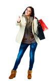 Vrouw in jeans en de winterkleren royalty-vrije stock afbeeldingen