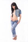 Vrouw in jeans en denimlaag Royalty-vrije Stock Foto