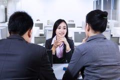 Vrouw in Job Interview Stock Foto's
