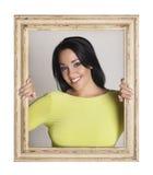 Vrouw in kader wordt opgesloten dat Royalty-vrije Stock Fotografie
