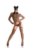 Vrouw in kattenmasker Stock Afbeelding