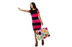 Vrouw in Kerstmis het winkelen concept op wit Stock Foto