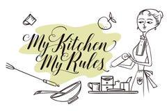 Vrouw in keuken cooking stock illustratie