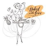Vrouw in keuken cooking vector illustratie