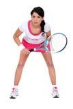 Vrouw klaar om tennis te spelen royalty-vrije stock afbeelding