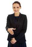 Vrouw klaar voor handdruk Stock Fotografie