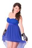 Vrouw in kleding en bokshandschoen op wit royalty-vrije stock foto