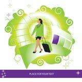 Vrouw, koffer, luchthaven Royalty-vrije Stock Afbeeldingen
