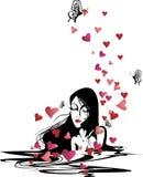Vrouw in liefde Stock Illustratie