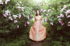 Vrouw in lilac struiken royalty-vrije stock foto