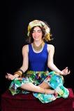 Vrouw in Lotus Position royalty-vrije stock afbeeldingen