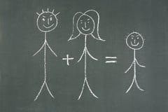 Vrouw, man en kinderen stock afbeelding