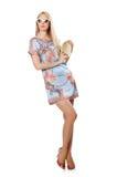 Vrouw in manierkleding Stock Foto