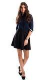 Vrouw in marineoverhemd Royalty-vrije Stock Foto's
