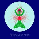 Vrouw in meditatie Creatieve illustratie stock illustratie