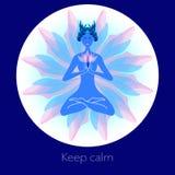 Vrouw in meditatie Creatieve illustratie vector illustratie