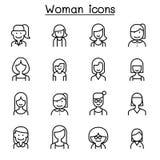 Vrouw, Meisje, dame, wijfje, Mammapictogram in dunne lijnstijl die wordt geplaatst stock illustratie
