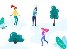 Vrouw, meisjes openluchtactiviteit in park royalty-vrije illustratie
