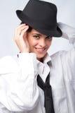 Vrouw in mens kleding Stock Afbeelding