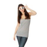 Vrouw met 3d glazen Royalty-vrije Stock Afbeeldingen