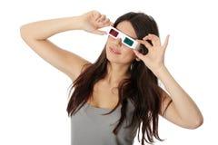 Vrouw met 3d glazen Stock Foto