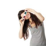 Vrouw met 3d glazen Stock Foto's