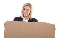Vrouw met aanplakbiljet Stock Afbeeldingen