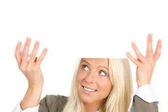 Vrouw met aanplakbiljet Stock Fotografie