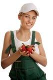 Vrouw met aardbeien Stock Afbeelding